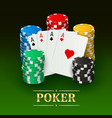 poker banner with realistic cards plastic chips vector image