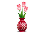 Red vase with rosy tulips posy isolated on white vector image