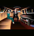retired couple in a limousine vector image vector image