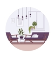 Retro interior with lamps sofa armchair plants vector image