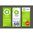 Set banners fresh green leaves Spring or summer vector image vector image