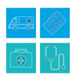 set equipment medical concept vector image vector image