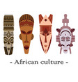set of four color traditional african masks vector image