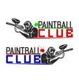 set of monochrome paintball logos emblems vector image