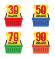 Set Of Shopping Basket Discount vector image