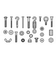 simple set construction hardware line icons vector image