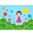 Small girl on the meadows in sunny summer day vector image