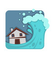 strong tsunami that covers and destroys small vector image