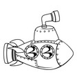 submarine monochrome cartoon vector image vector image