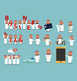 successful arab businessman cartoon character set