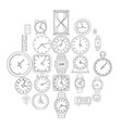 time and clock icons set outline style vector image vector image