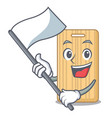 with flag wooden cutting board mascot cartoon vector image