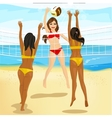 women play volleyball at the beach vector image vector image