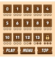 Wooden box level selection panel with buttons for vector image vector image