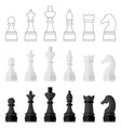 set of icons of chess pieces vector image