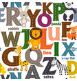 seamless pattern with letters and animals vector image