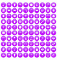 100 fruit party icons set purple vector image vector image