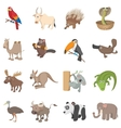 Animal icons set cartoon style vector image