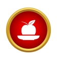 Apple in a plate icon in simple style vector image vector image
