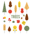 autumn colorful trees set of icons in a flat vector image