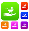 baby pram protection set collection vector image vector image