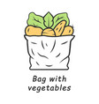 bag with vegetables color icon vector image