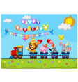 Birthday cartoon with happy animal on train vector image