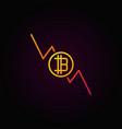 bitcoin decreasing graph colorful icon - vector image vector image
