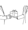 business man hand giving gift box success and vector image