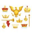 cartoon royal symbols imperial crowns scepter vector image