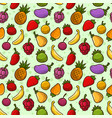 cartoon summer fruits seamless pattern vector image