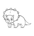 cartoon triceratops cute little badinosaur vector image