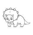 cartoon triceratops cute little badinosaur vector image