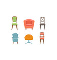 chairs and armchairs set retro and modern vector image