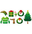 christmas set with tree and clothes vector image vector image