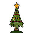 christmas tree pines vector image vector image