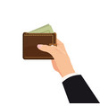 concept with hand and wallet full of money online vector image vector image