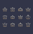 crowns line icons royalty king monarch queen vector image vector image