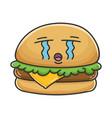 crying cheese burger cartoon vector image vector image