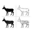 cut antelope set poster butcher diagram vector image vector image
