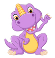 Cute dinosaur waving hand vector image