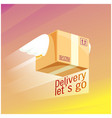 delivery lets go flying box background ima vector image