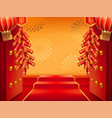 doors with fireworks or entrance with lanterns vector image vector image