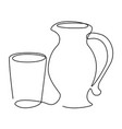 drink set one line drawing concept vector image