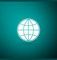 earth globe icon isolated on green background vector image vector image