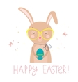 easter card with funny rabbit and colored egg vector image