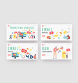 email marketing analysislanding page template set vector image