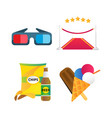 fast food and film cinema icons vector image vector image