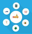flat icon nature set of cancer seafood alga and vector image vector image