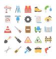 flat icon set under construction vector image